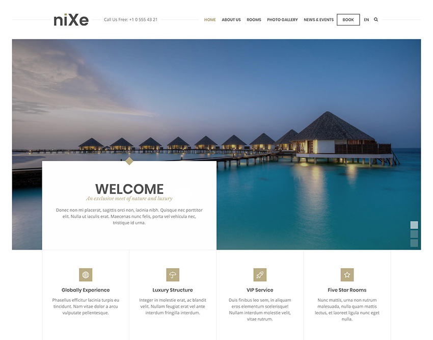 Nixe  Hotel Travel and Holiday WordPress Theme