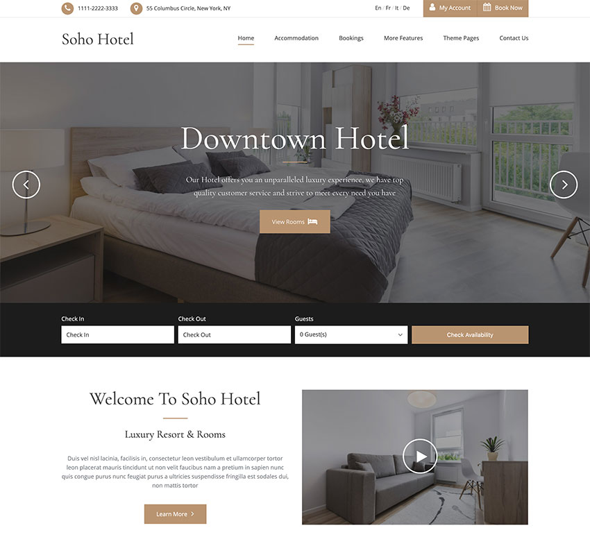 Soho Hotel - plantilla para sitio web de hotel con calendario de reservas