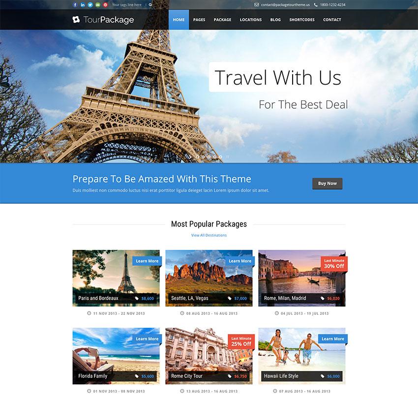 Tour Package - tema WordPress para web de tours y viajes