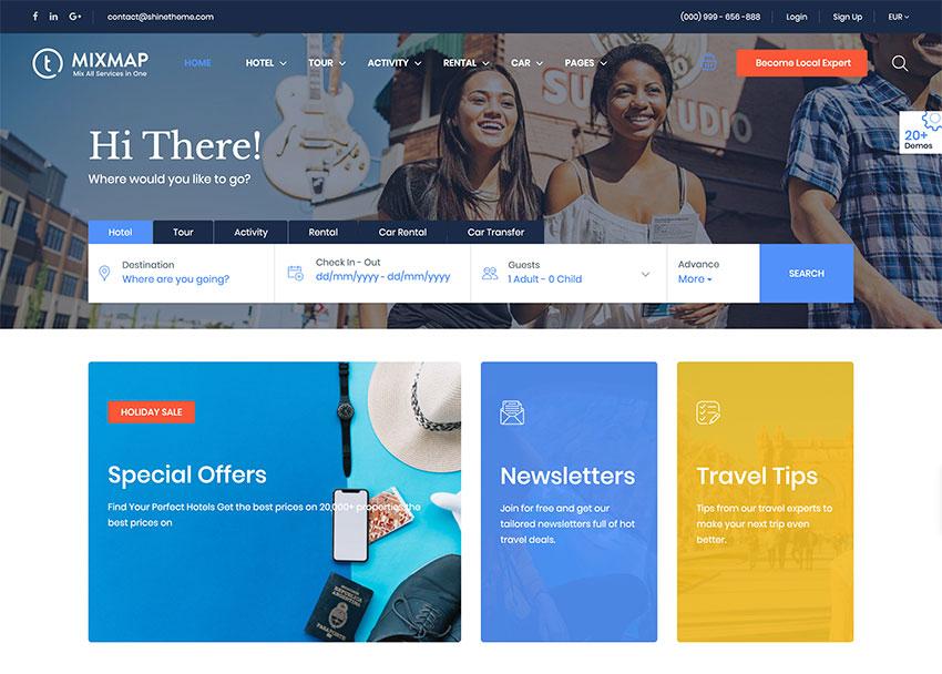Travel Booking, tema WordPress
