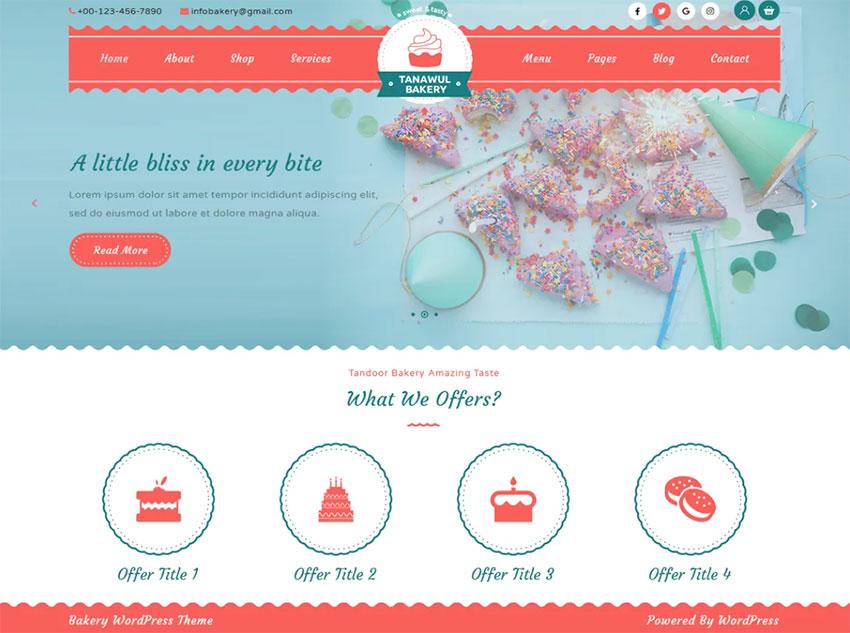 Tanawul Bakery free WordPress Theme