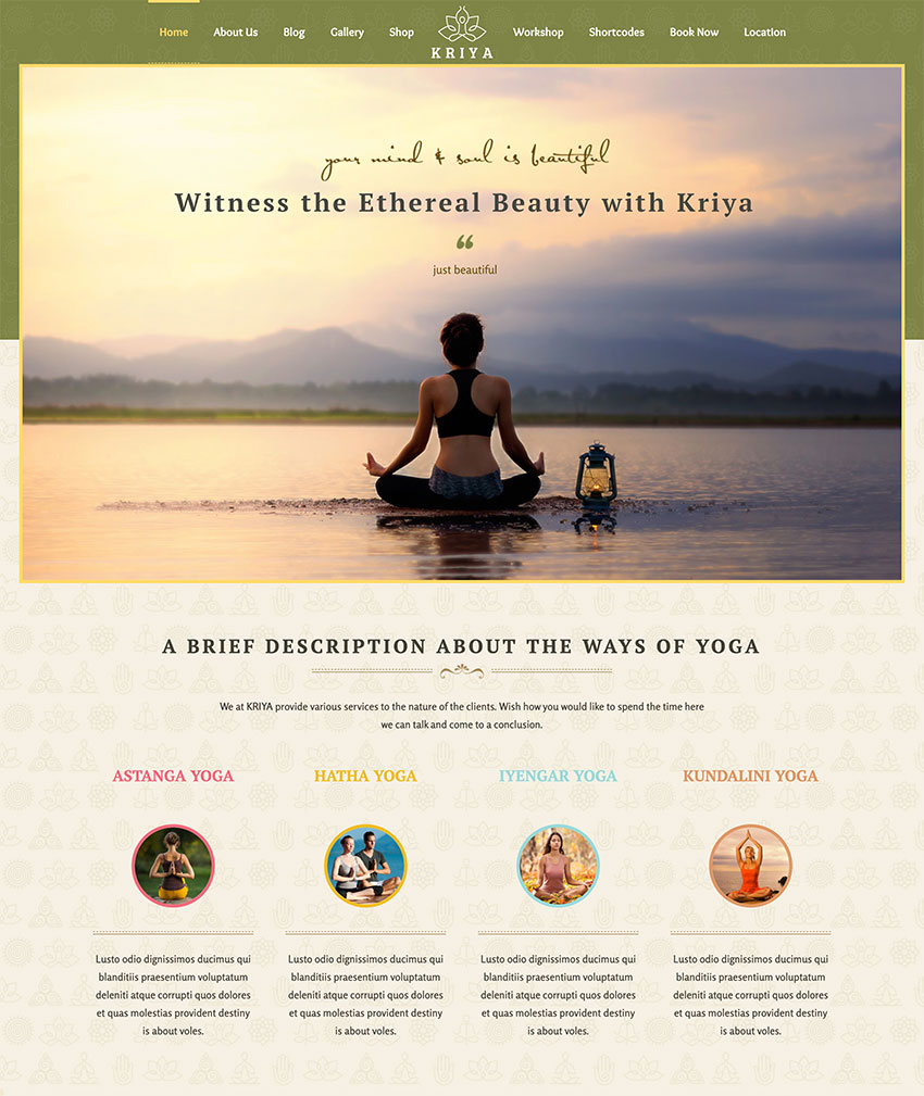 Kriya Yoga - Health Meditation and Yoga WordPress Theme