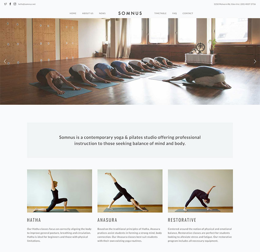 Somnus - Yoga  Fitness Studio WordPress Theme