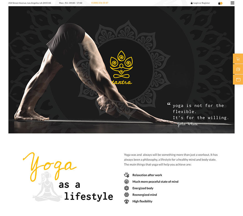 Tantra  A Yoga Studio and Fitness Club WordPress Theme
