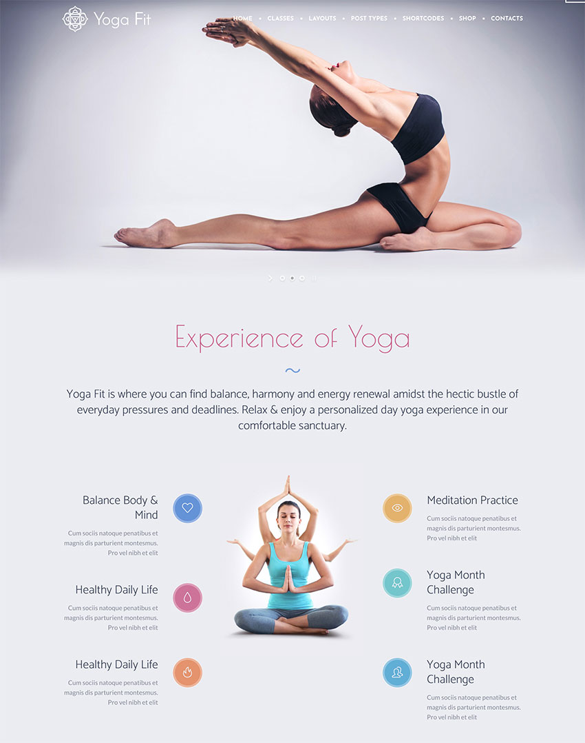 Yoga Fit - Sport  Fitness WordPress Theme