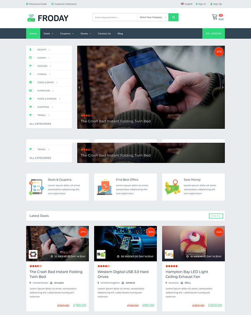 Froday Coupons and Deals WordPress Theme