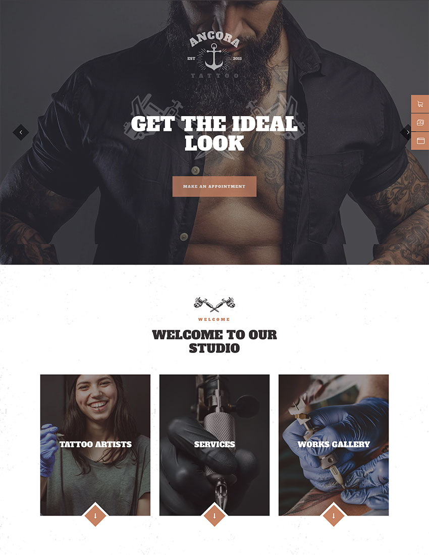 Ancora  An Urban Tattoo Salon and Ink Shop WordPress Theme