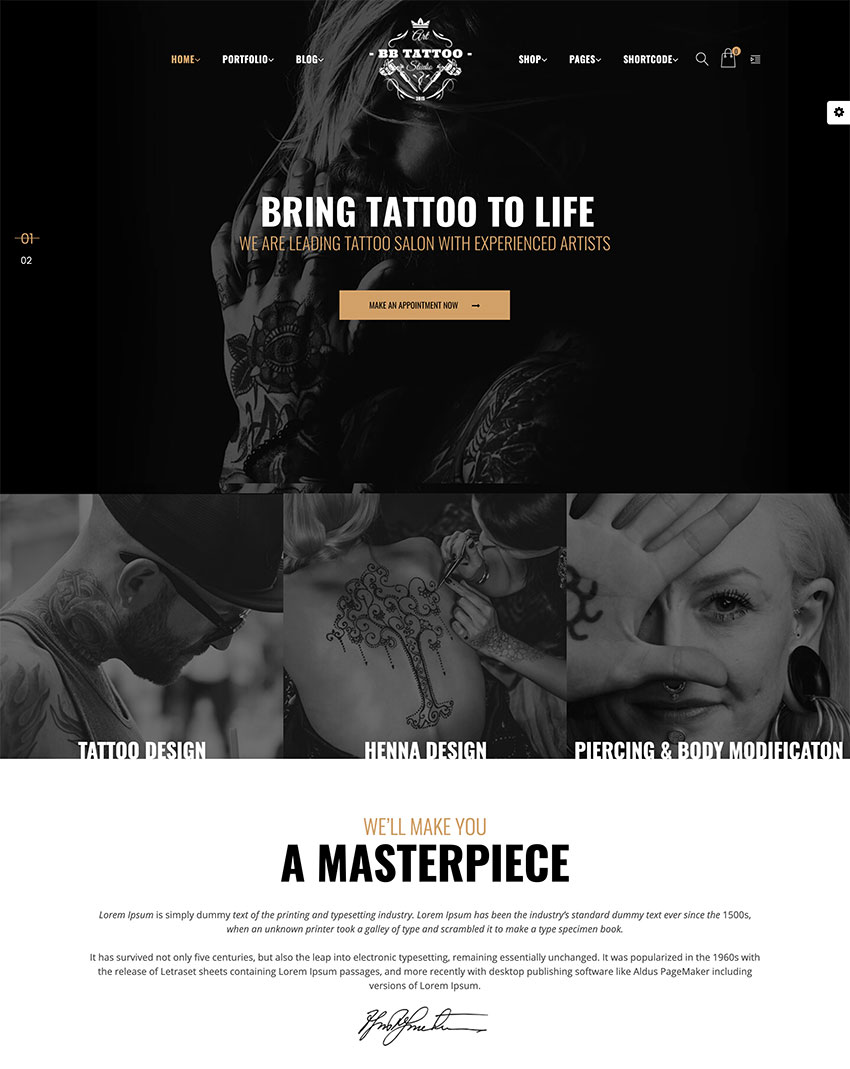 Barber - Hair Tattoo  Beauty Salons WordPress Theme