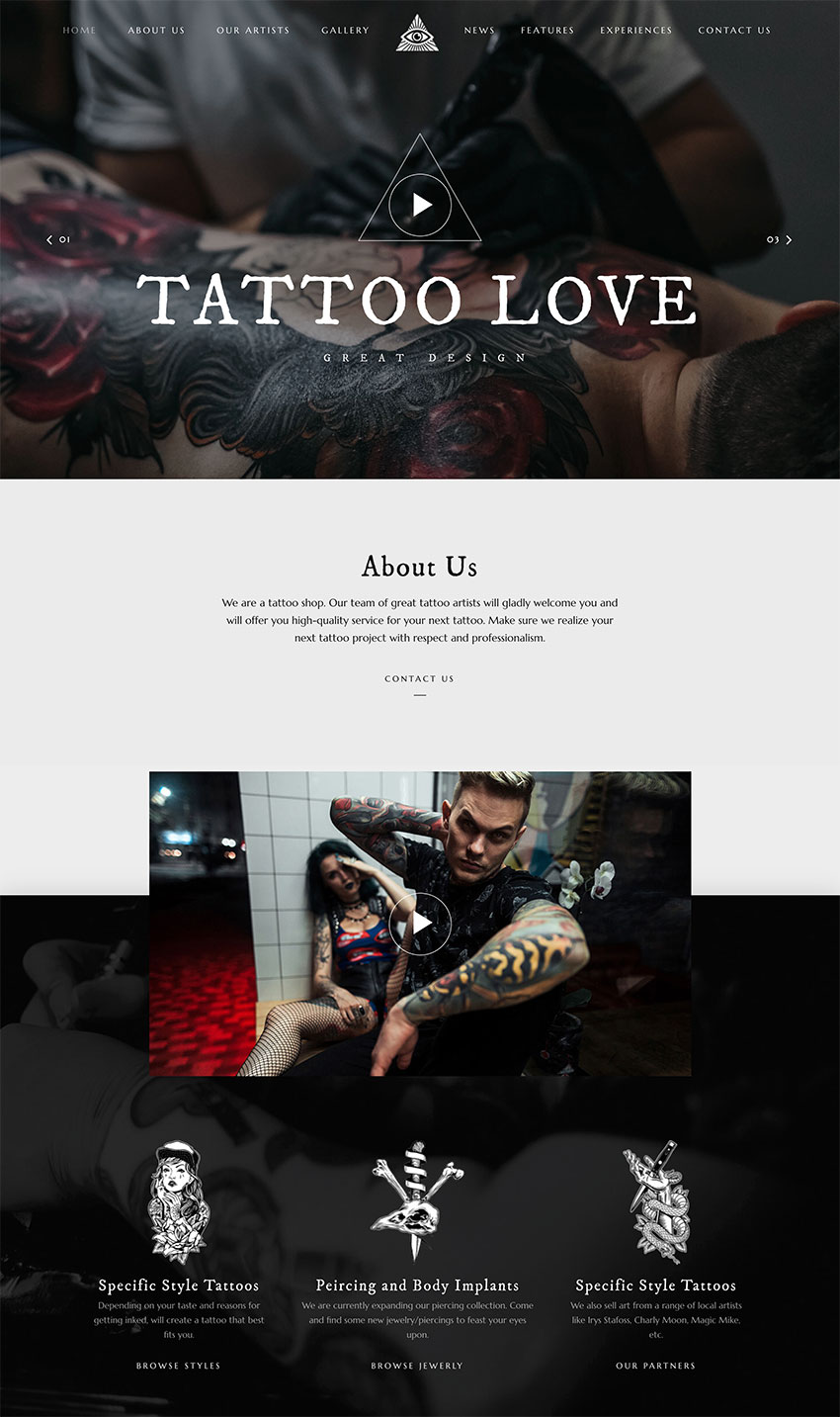 Ewo - Tattoo Studio WordPress
