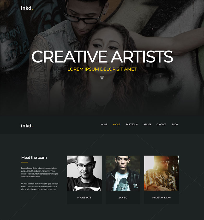 Inkd Tattoo Studio One-Page WordPress Theme