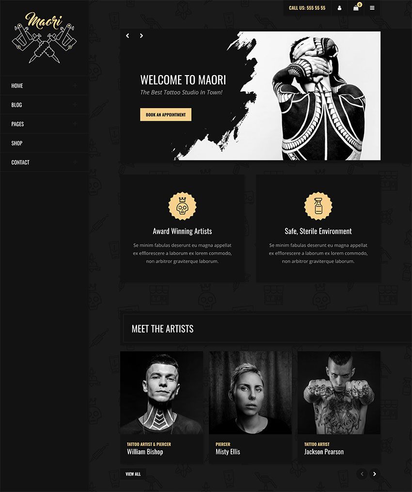 Maori - Tattoo Studio WordPress Theme
