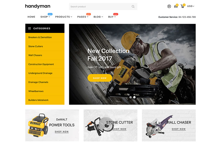 Handyman - Drag  Drop Plumber Construction Tools Shopify Theme