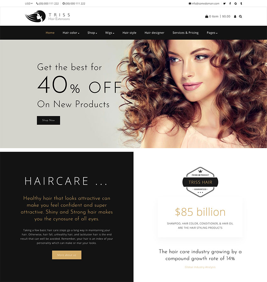 Triss - Hair Extension Beauty Salon Shopify Theme