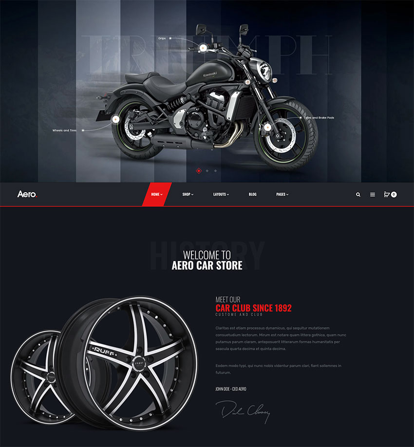 Aero - Auto Parts car Accessories Shopify Theme