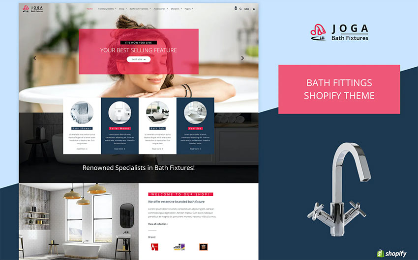 Joga  Bath Fittings Shopify Theme