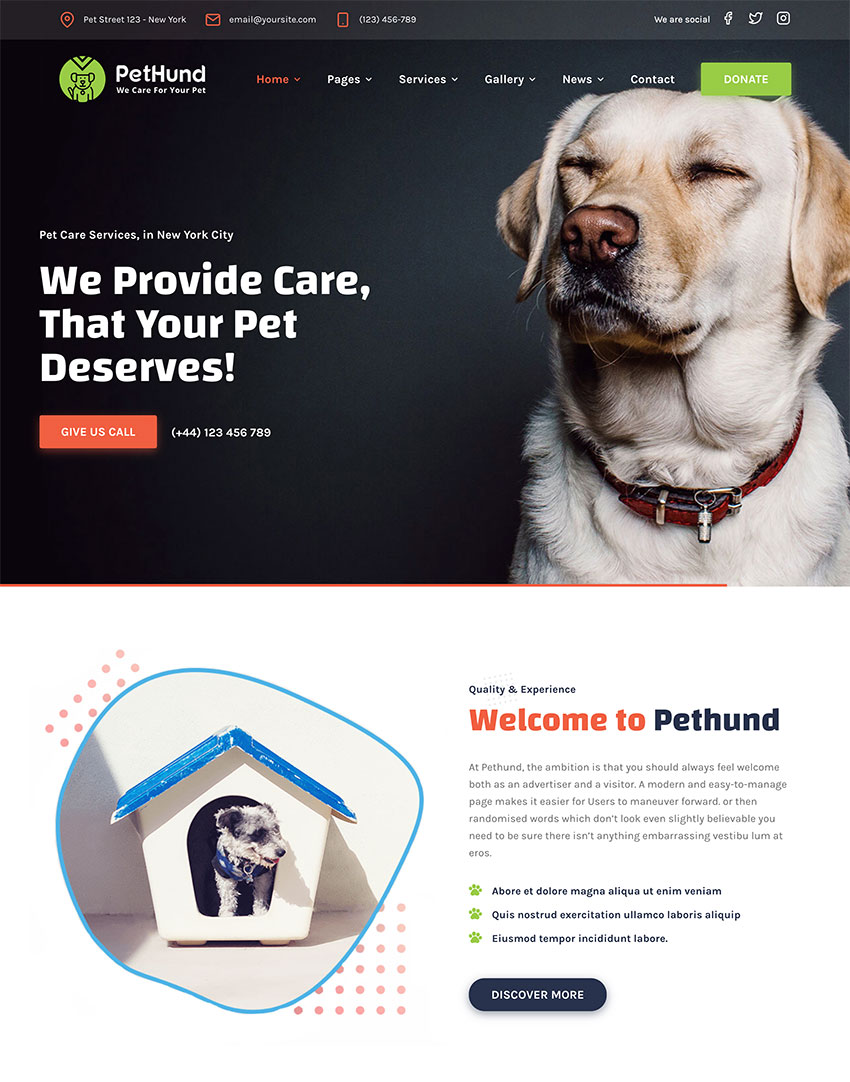 Pet Hund  Animals Shop  Veterinary WordPress Theme