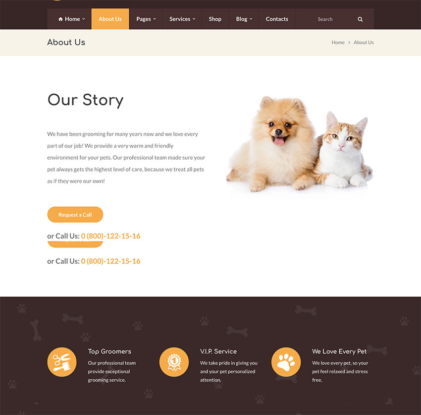 Grooming - Pet Shop  Veterinary Physician WordPress Theme