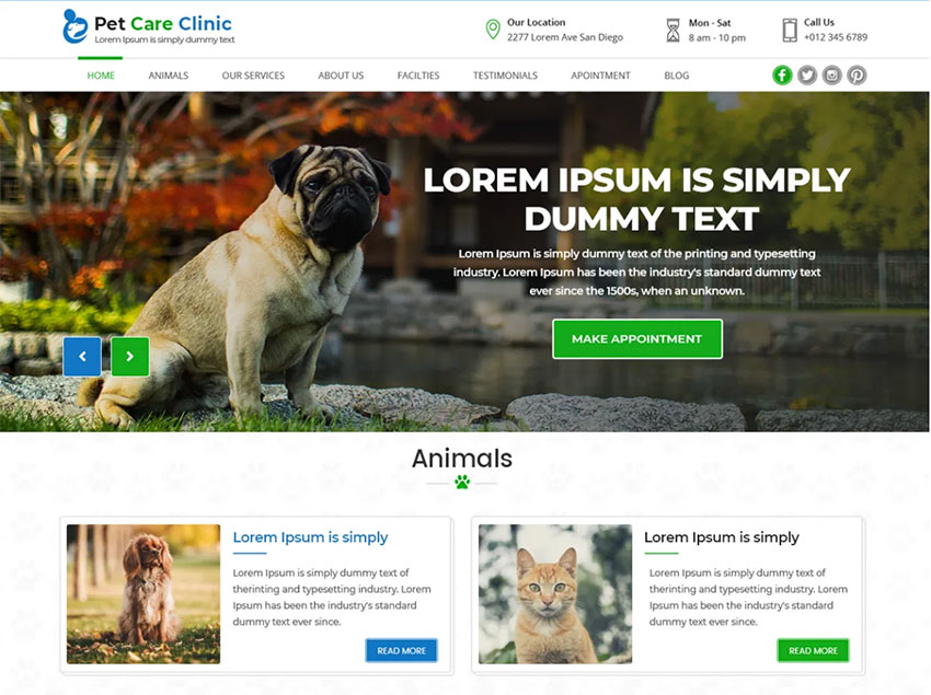 Pet Care Clinic Free Pet WordPress Themes