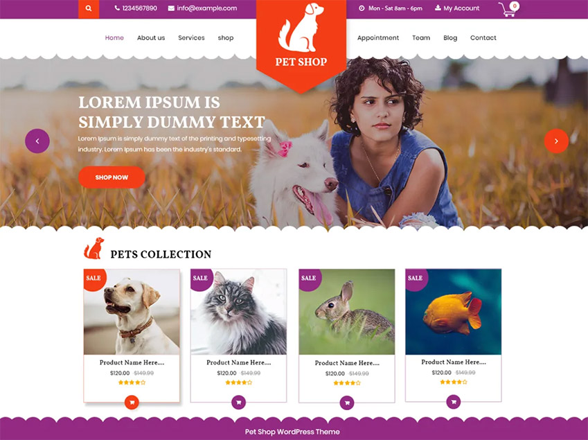 VW Pet Shop Free Pet WordPress Themes