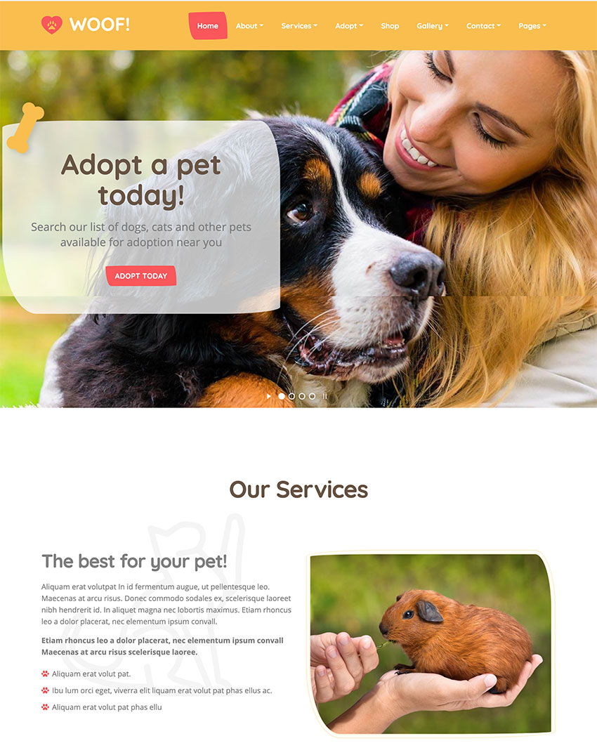 Woof - Pet WordPress Theme