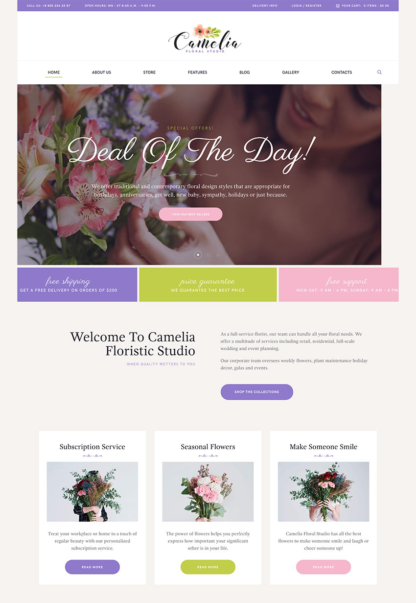 Image of Camelia   A Floral Studio Florist WordPress Theme