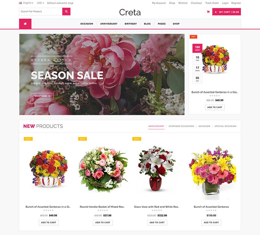 Image of Creta   Flower Shop WooCommerce WordPresss Theme