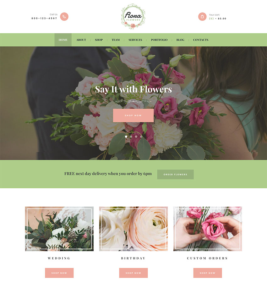 Image of Flowers Boutique and Florist WordPress Theme