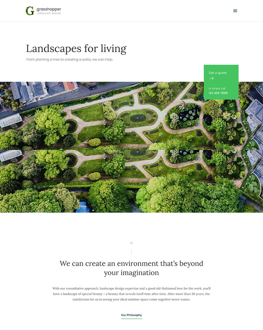 Image of Grasshopper   Landscape Design and Gardening Services WP Theme