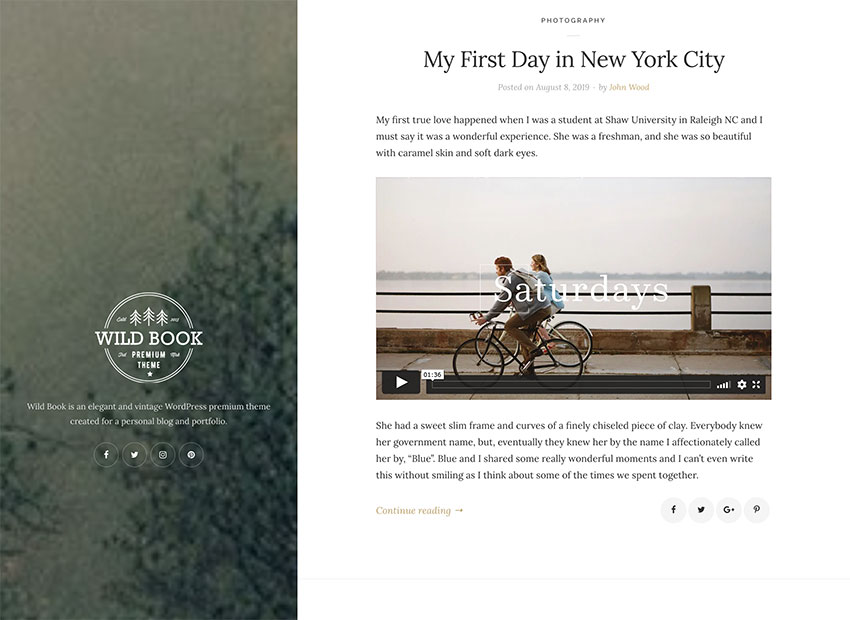 Image of Wild Book   Vintage & Elegant WordPress Blog
