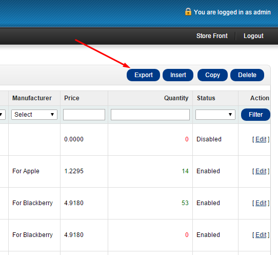 Export button in the Admin Panel of the OpenCart store