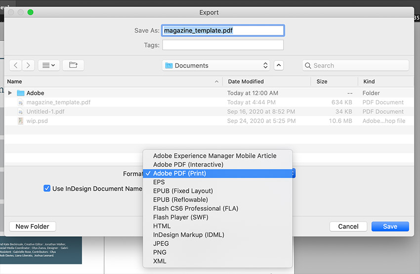 Select PDF as File Type