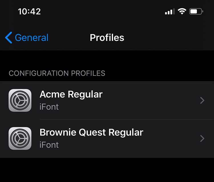 Check Profiles of Downloaded Fonts to iPhone
