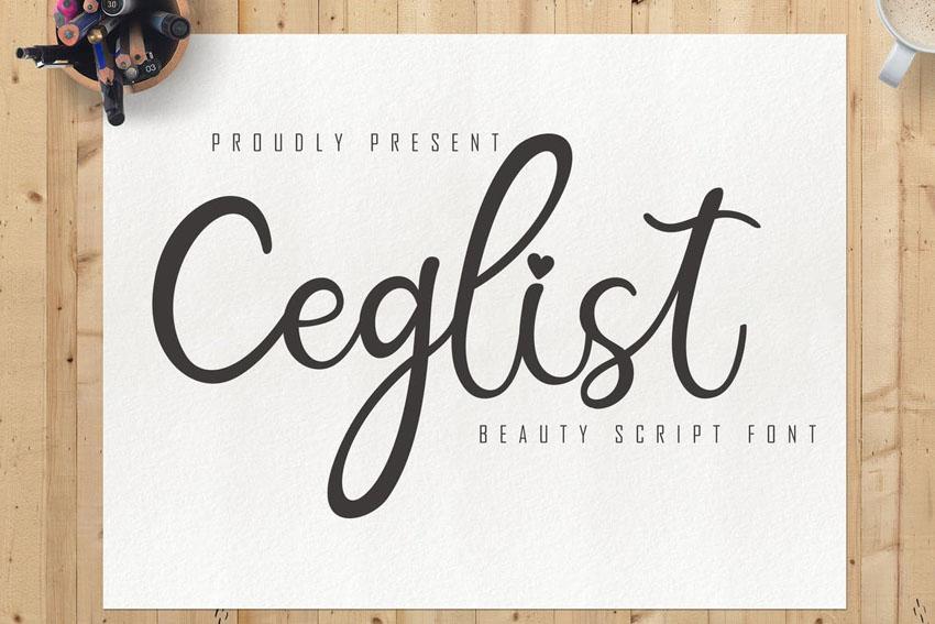 Ceglist Beauty Script Font Cricut Script Font