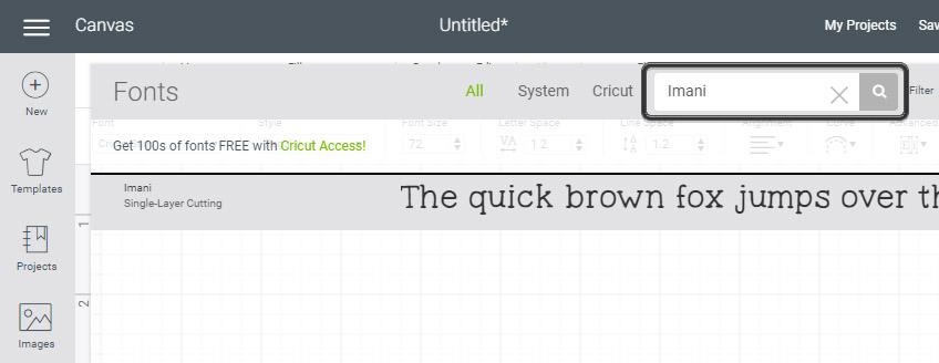 Cricut font search
