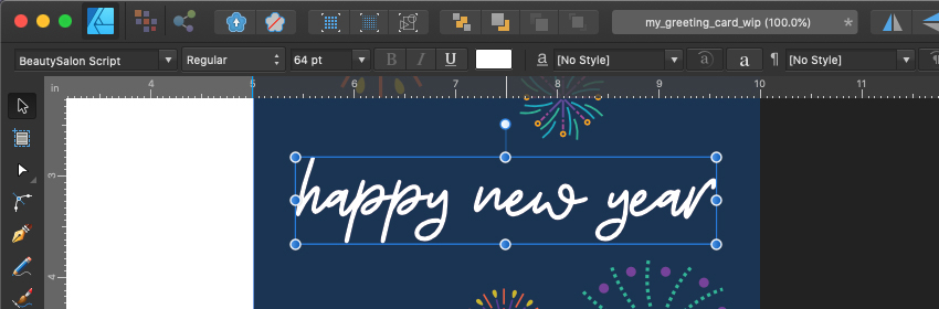 Affinity Designer Template Greeting Card Font Settings