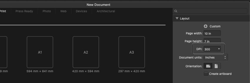 Affinity Designer Create Template