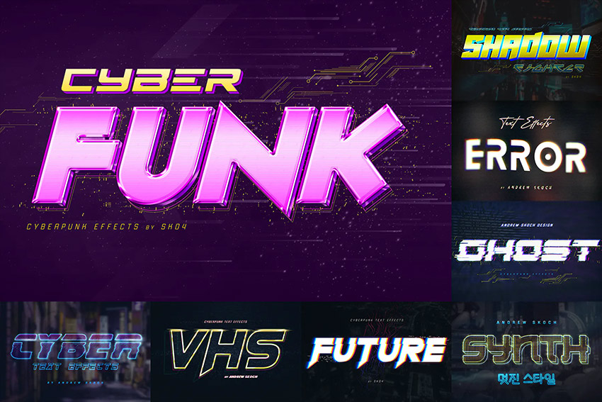 Cyber Funk Text Effects Rotate Photoshop
