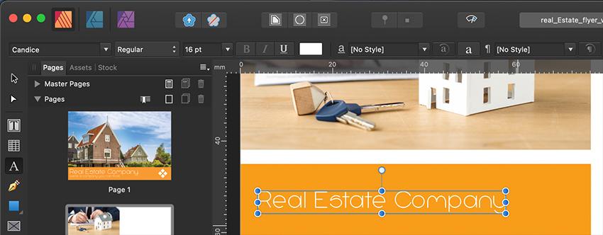 Affinity Publisher Real Estate Postcard Title