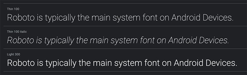 System Fonts Roboto