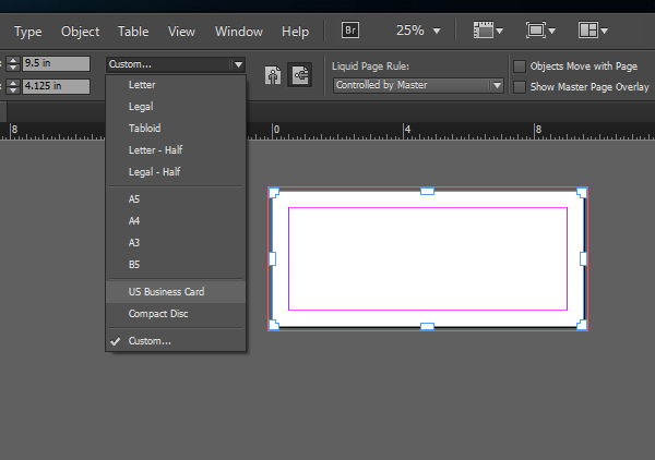 How to create multiple page sizes in one adobe indesign file for Indesign business card size