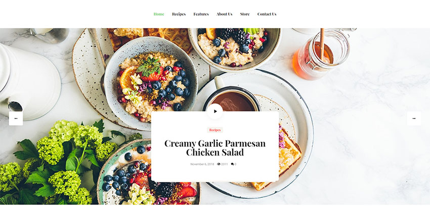 Especio  Personal Gutenberg Food Blog WordPress Theme