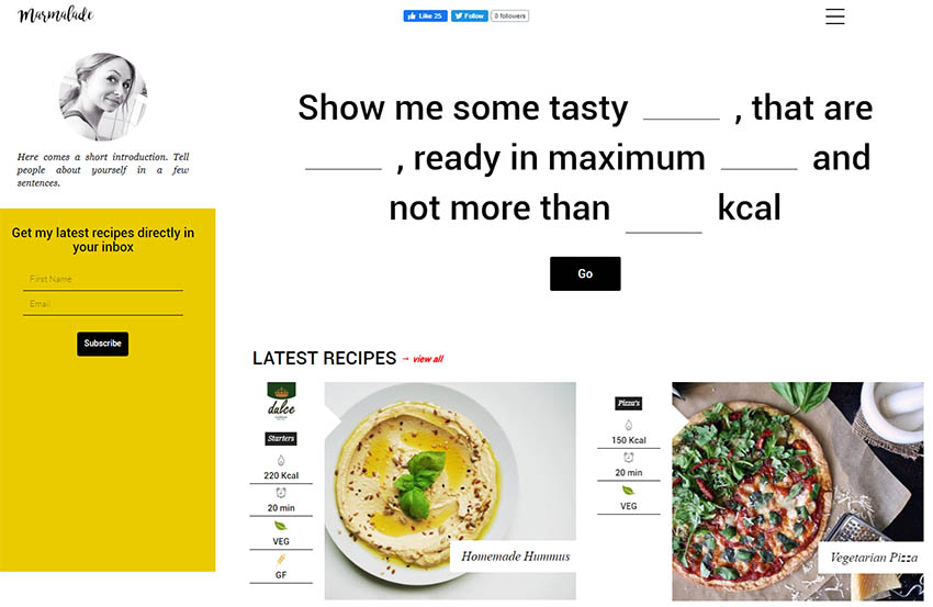 Marmalade - Modern Food Blog Theme