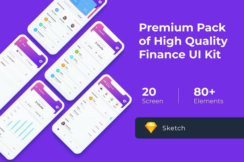 Finance Mobile UI KIT for Sketch