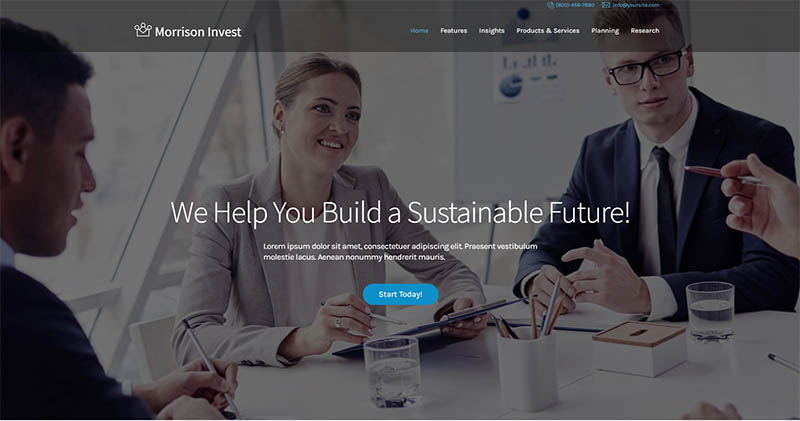 Investments Business Financial Advisor WordPress Theme