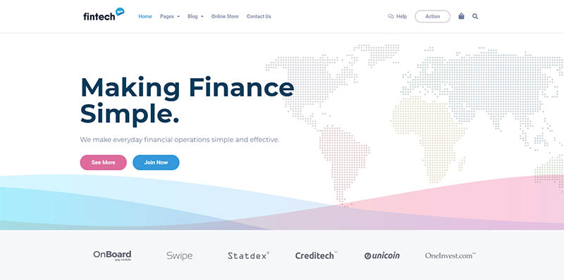 Fintech WP - Financial Technology and Services WordPress Theme