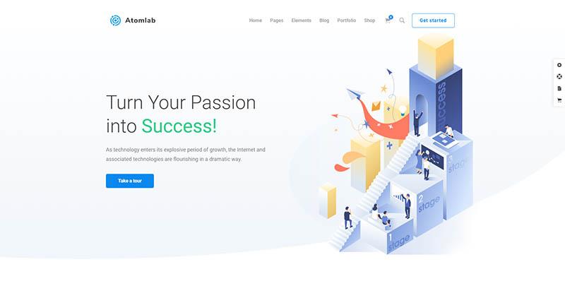 Startup Landing Page WordPress Theme - Atomlab