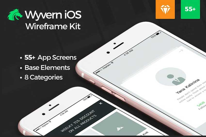Wyvern iOS Wireframe UI Kit