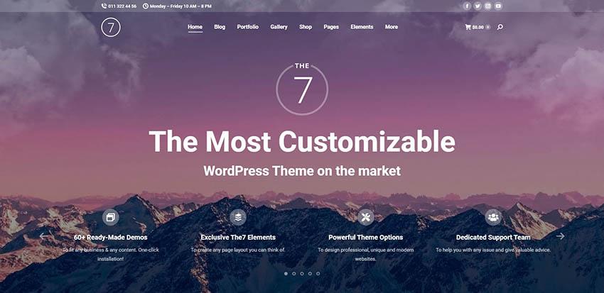 Bộ công cụ xây dựng trang web đa năng The7 dành cho WordPress