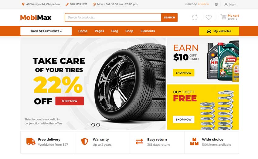 Mobimax - Auto Parts WordPress Theme + WooCommerce Shop