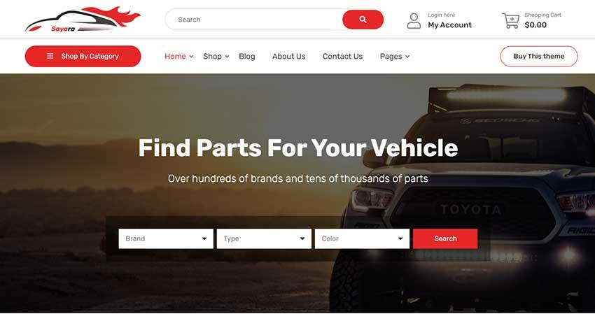 Sayara - Auto Parts Store WooCommerce WordPress Theme